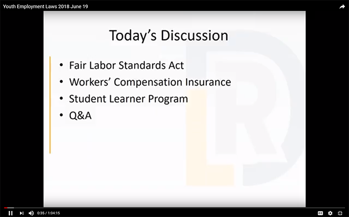 YouTube video: Employer Webinar on Youth Employment Laws