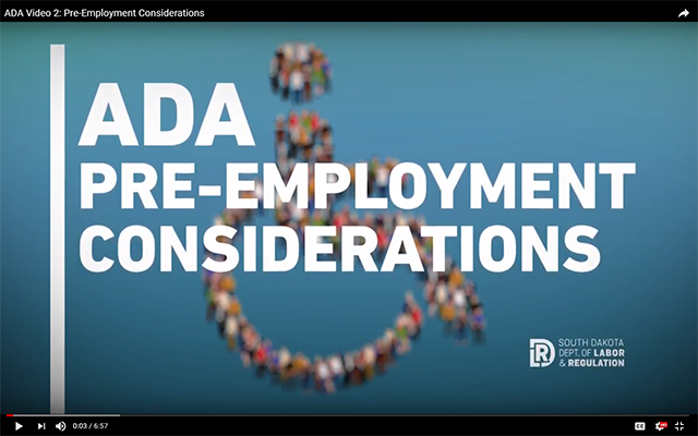 ADA Pre-Employment Considerations Video