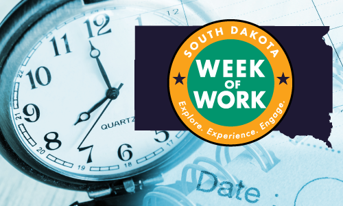 Clock and calendar image with SD Week of Work logo